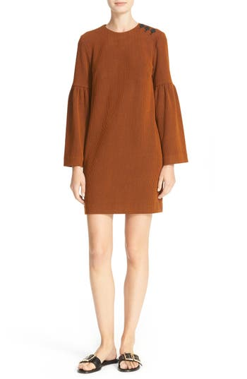 Tibi Stripe Texture Knit Bell Sleeve Dress