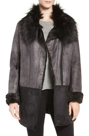 Tahari Faux Shearling Coat with Faux Fur Trim