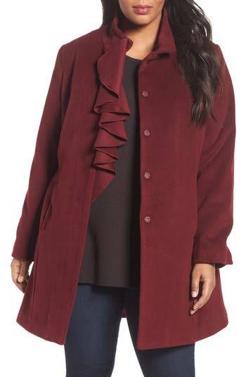 Tahari Kate Ruffle Wool Blend Coat (Plus Size)