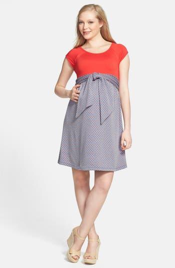 Maternal America Scoop Neck Front Tie Dress