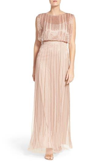 Adrianna Papell Beaded Mesh Blouson Gown (Regular & Petite)