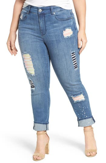 Melissa McCarthy Seven7 Patch Detail Distressed Stretch Skinny Jeans (Plus Size)