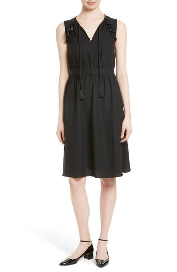 kate spade new york ruffle crepe fit & flare dress