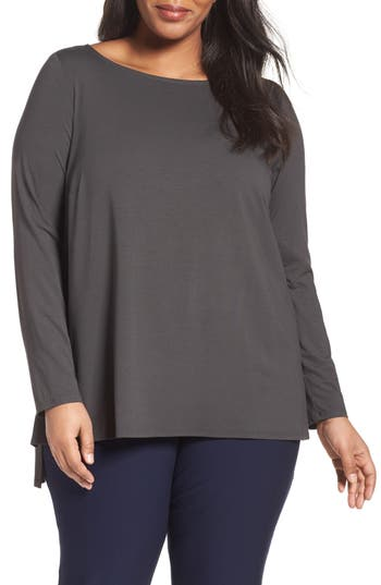 Eileen Fisher Organic Linen Blend Crepe Knit Sweater (Plus Size)