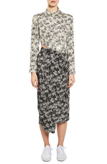 Topshop Boutique Mixed Faces Silk Dress