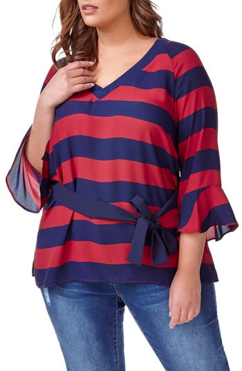 ADDITION ELLE LOVE AND LEGEND Belted Stripe Blouse (Plus Size)
