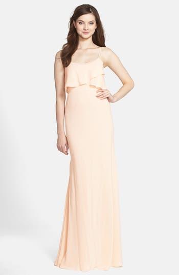 Jenny Yoo 'Blake' Bib Front Crêpe de Chine Gown