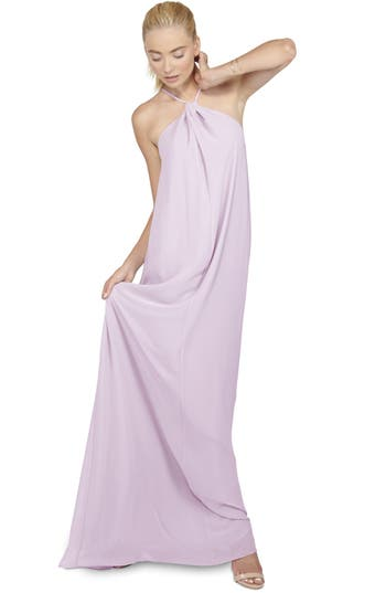 Ceremony by Joanna August 'Casey' Twist Neck Chiffon A-Line Gown