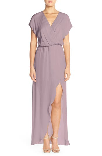 MAIDS Rory Beca 'Plaza' Faux Wrap Silk Georgette Cutaway Gown