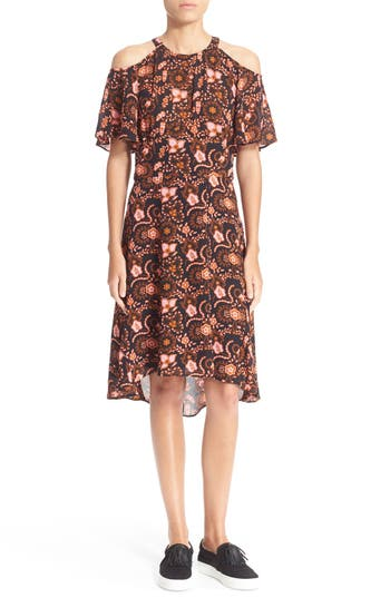 A.L.C. 'Emile' Cold Shoulder Floral Print Silk Dress