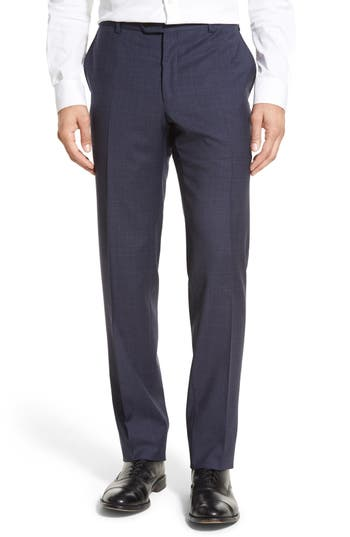 Pal Zileri Flat Front Plaid Wool Trousers