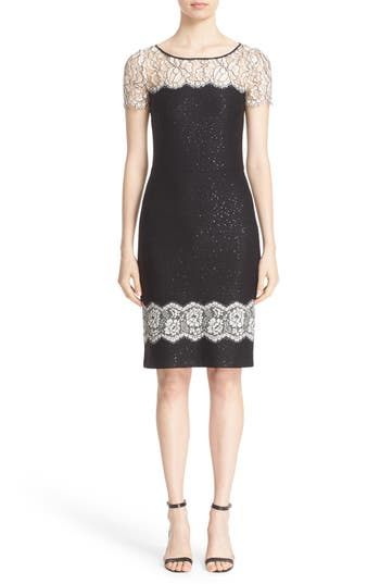 St. John Collection Lace Trim Sequin Satin Knit Sheath Dress