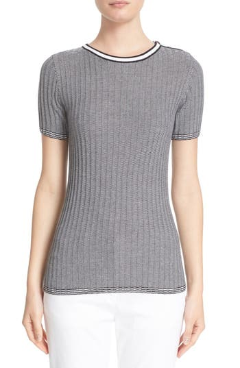 St. John Sport Collection Rib Knit Short Sleeve Sweater