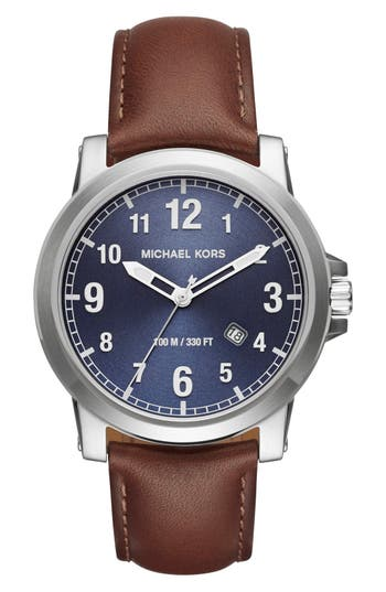 Micheal Kors 'Paxton' Leather Strap Watch, 43mm