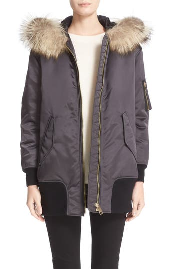 Burberry 'Avonshire' Satin Bomber Jacket with Removable Genuine Fox Fur Trim