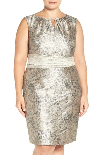 Ellen Tracy Metallic Jacquard Sheath Dress (Plus Size)