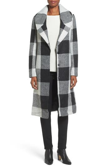 kensie Textured Plaid Long Coat