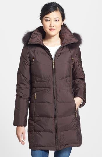 Ellen Tracy Genuine Fox Fur Trim Down Parka (Regular & Petite)