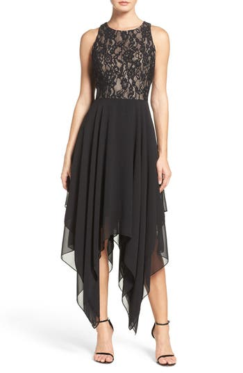 Aidan by Aidan Mattox Lace & Chiffon Midi Dress
