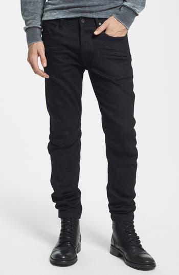 Hudson Jeans Blinder Skinny Fit Moto Jeans (Raw Black)