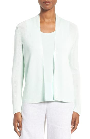 Eileen Fisher Ribbed Tencel® Straight Crop Cardigan