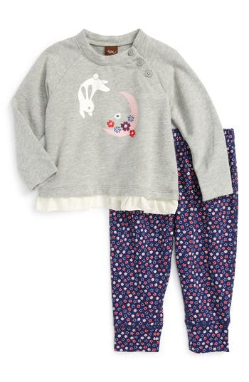 Tea Collection Moon Rabbit Top & Pants Set (Baby Girls)
