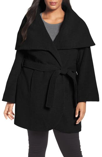 Tahari Marla Cutaway Wrap Coat with Oversize Collar