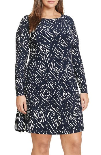 Lauren Ralph Lauren Print Jersey Shift Dress (Plus Size)
