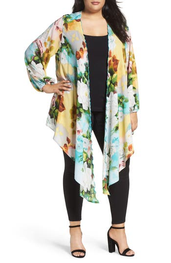 Melissa McCarthy Seven7 Full Sleeve Drape Front Topper (Plus Size)