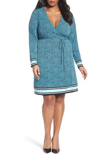 MICHAEL Michael Kors Stingray Border Print Wrap Dress (Plus Size)