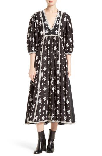 La Vie Rebecca Taylor Blanche Fleur Cotton Midi Dress