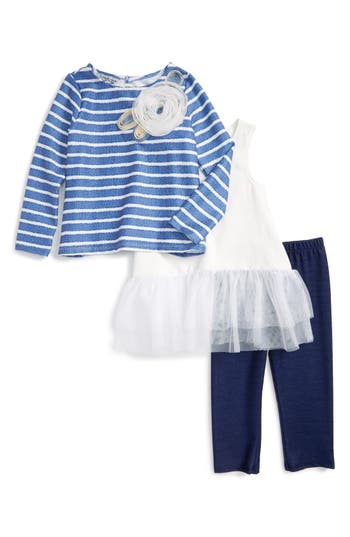 Pippa & Julie Stripe Top, Peplum Tank & Leggings Set (Toddler Girls & Little Girls)