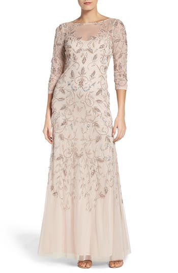 Adrianna Papell Beaded A-Line Gown (Regular & Petite)