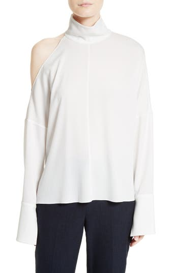 Tibi Asymmetrical Shoulder Cutout Top