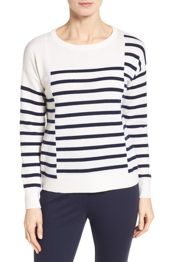 Nordstrom Collection Placed Stripe Cashmere Pullover