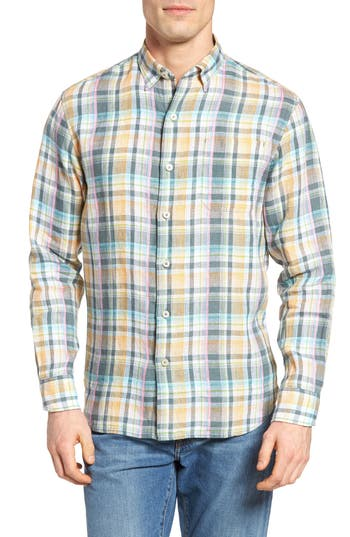 Tommy Bahama Romario Standard Fit Plaid Linen Sport Shirt