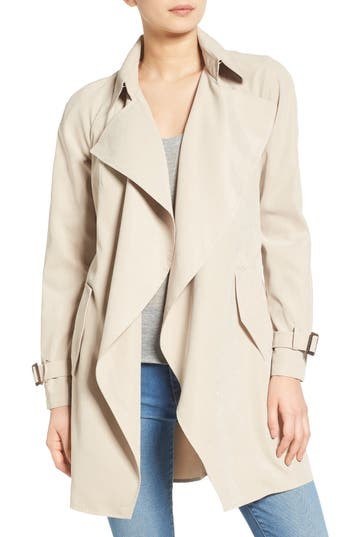 kensie Belted Drapey Trench Coat
