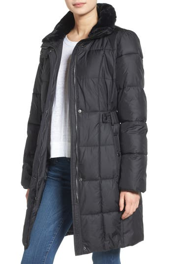 Lauren Ralph Lauren Faux Fur Trim Side Tab Quilted Coat