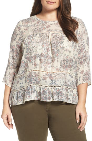 Lucky Brand Button Back Ruffle Hem Print Top (Plus Size)