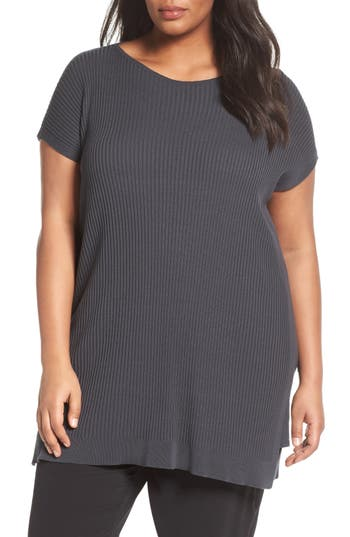 Eileen Fisher Bateau Neck Ribbed Tunic (Plus Size)