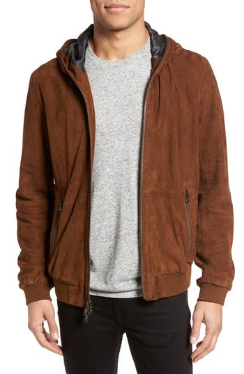 John Varvatos Star USA Hooded Leather Bomber Jacket