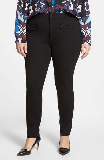 NYDJ 'Ski' Zip Pocket Ponte Knit Skinny Pants (Plus Size)