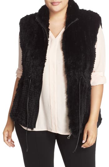 Love Token Drawstring Waist Genuine Rabbit Fur Vest (Plus Size)