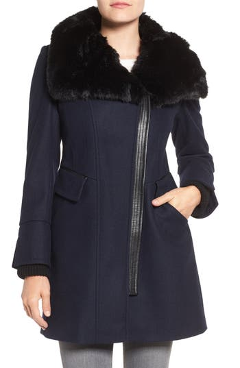Via Spiga Faux Fur Trim Asymmetrical Wool Blend Coat
