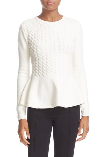 Ted Baker London 'Mereda' Cable Knit Peplum Sweater
