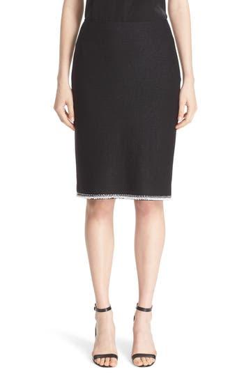 St. John Collection Metallic Lattice Knit Skirt