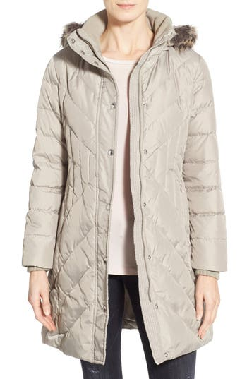 London Fog Down & Feather Fill Coat with Faux Fur Trim (Petite)