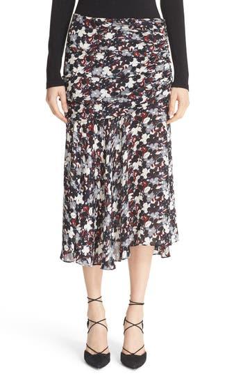 Veronica Beard Madison Floral Print Silk Midi Skirt