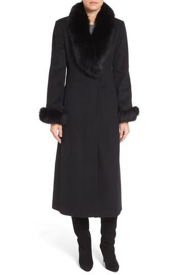 Ellen Tracy Wool Blend Maxi Coat with Genuine Fur Trim (Regular & Petite)
