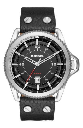 DIESEL® Rollcage Leather Strap Watch, 46mm